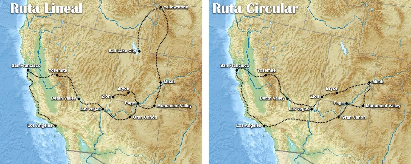 Tipos de ruta para recorrer la costa oeste de eeuu
