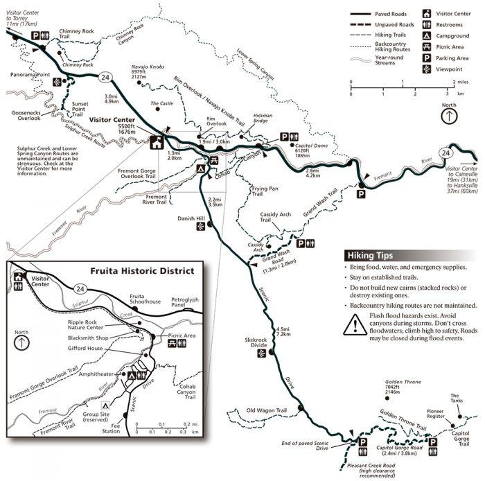 MAPA TRAILS Y CAMINATAS EN CAPITOL REEF