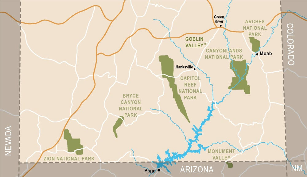 Mapa dónde está Goblin Valley State Park