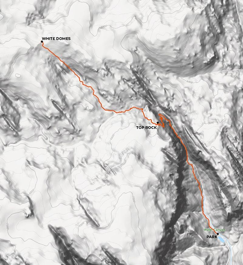 mapa topográfico white domes para llegar a la ola blanca