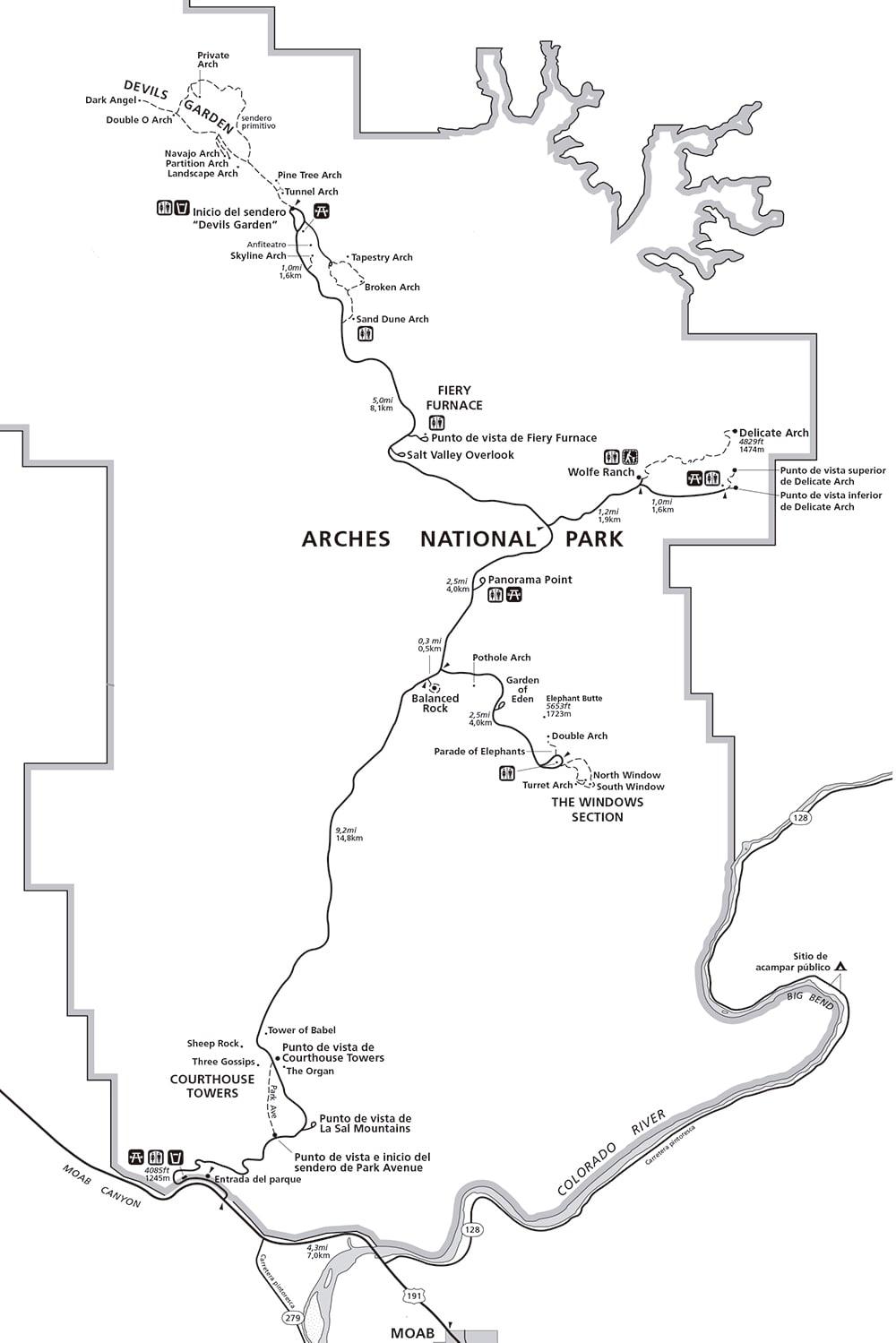 MAPA DEL PARQUE NACIONAL ARCHES