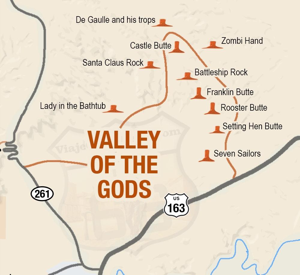 Scenic loop road Valley of the Gods Utah - El Valle de los Dioses
