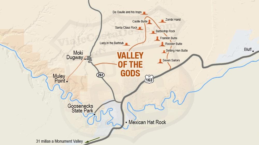 MAPA Recorrido escénico en Valley of the Gods Utah - El Valle de los Dioses