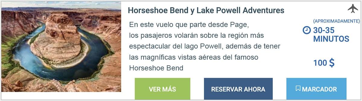 VUELO EN AVIONETA HORSESHOE BEND Y LAGO POWELL