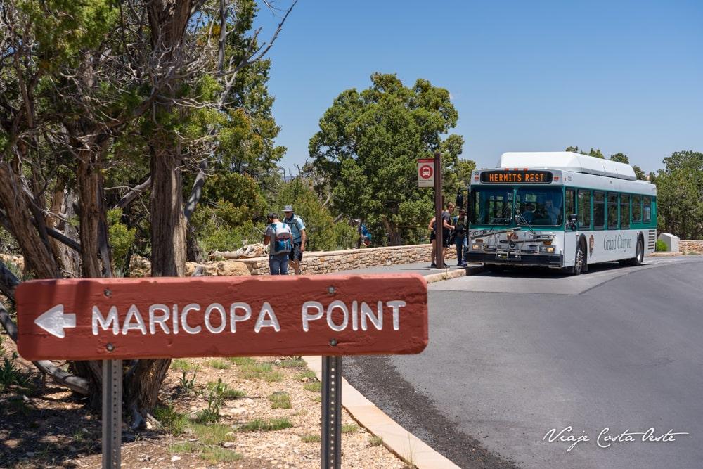 RED LINE SHUTTLE BUS HERMITS REST ROAD SOUTH RIM GRAN CAÑÓN DEL COLORADO MARICOPA POINT VIAJE COSTA OESTE EEUU